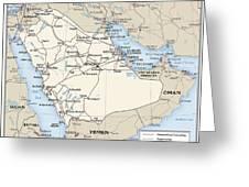 Map Of Saudi Arabia 2 Greeting Card