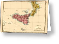 Map Of Sicily 1875 Greeting Card