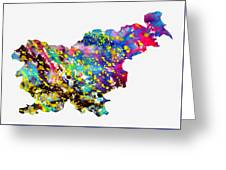 Map Of Slovenia-colorful Greeting Card