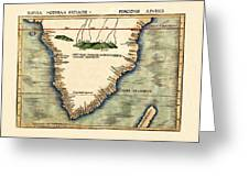 Map Of South Africa 1513 Greeting Card