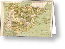 Map Of Spain Greeting Card