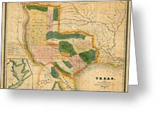 Map Of Texas 1834 Greeting Card