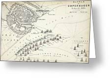 Map Of The Battle Of Copenhagen Greeting Card
