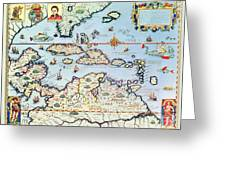 Map Of The Caribbean Islands And The American State Of Florida  Greeting Card by Theodore de Bry