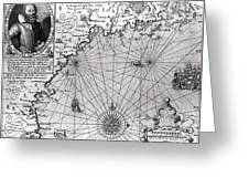 Map Of The Coast Of New England Greeting Card by Simon de Passe