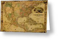 Map Of The United States 1849 Greeting Card