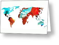 Map Of The World 4 -colorful Abstract Art Greeting Card