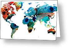 Map Of The World 6 -colorful Abstract Art Greeting Card