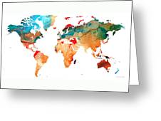 Map Of The World 7 -colorful Abstract Art Greeting Card
