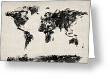 Map Of The World Map Abstract Greeting Card by Michael Tompsett