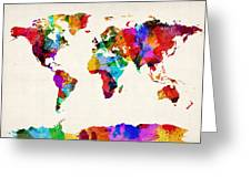 Map Of The World Map Abstract Painting Greeting Card by Michael Tompsett