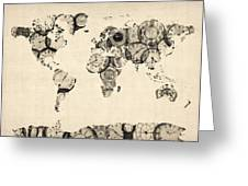 Map Of The World Map From Old Clocks Greeting Card