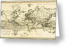 Map Of The World Using The Mercator Projection Greeting Card