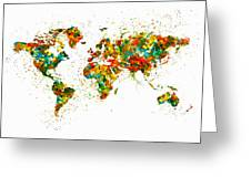 Map Of The World Watercolor Greeting Card
