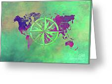 Map Of The World Wind Rose 3 Greeting Card