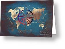 Map Of The World Wind Rose 4 Greeting Card