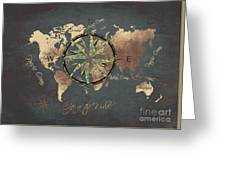 Map Of The World Wind Rose 5 Greeting Card