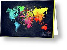 Map Of The World Wind Rose 6 Greeting Card