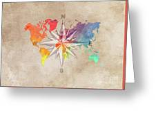 Map Of The World Wind Rose 7 Greeting Card