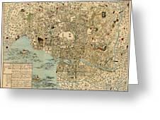 Map Of Tokyo 1854 Greeting Card