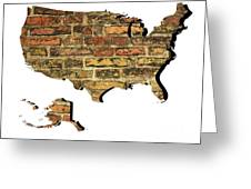 Map Of Usa And Wall. Greeting Card