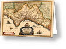 Map Of Valencia 1634 Greeting Card