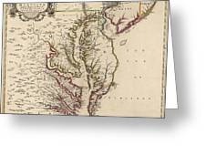 Map Of Virginia And Maryland Greeting Card