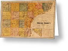 Map Of Wayne County Michigan Detroit Area Vintage Circa 1893 On Worn Distressed Canvas  Greeting Card