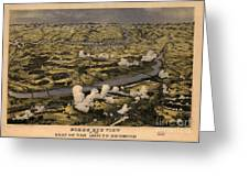 Maps Birds Eye View Of The Seat Of War Around Richmond Showing The Battle Of Chickahominy River Greeting Card