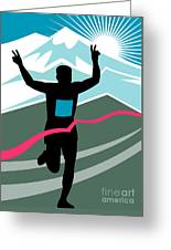 Marathon Race Victory Greeting Card by Aloysius Patrimonio