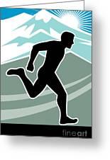 Marathon Runner Greeting Card by Aloysius Patrimonio
