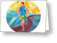 Marathon Runner In Action Circle Low Polygon Greeting Card