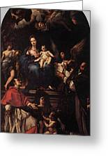 Maratti Carlo Madonna And Child Enthroned With Angels And Saints Greeting Card