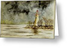 Marblehead Lighthouse In The Winter Greeting Card