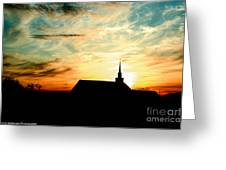 March Church Sunset  Greeting Card