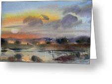 March Evening On The River Greeting Card