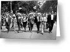 Marchers Wearing Hats Carry Puerto Rican Flags Down Constitution Avenue Greeting Card