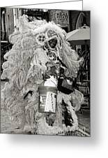 Mardi Gras Indian In Pirates Alley In Black And White Greeting Card