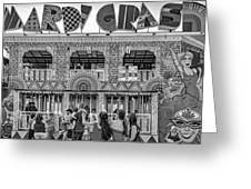 Mardi Gras North - Bw Greeting Card
