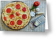 Margarita Pizza With Ingredients Greeting Card
