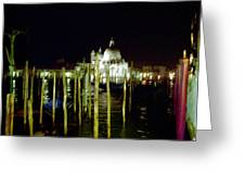 Maria Della Salute In Venice At Night Greeting Card