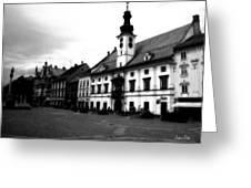Maribor Square Black And White Greeting Card