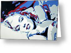 Marilyn Monroe Blue And Red Detail Greeting Card