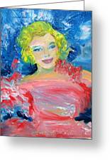 Marilyn Monroe In Pink And Blue Greeting Card