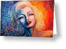 Marilyn Monroe Original Acrylic Palette Knife Painting Greeting Card