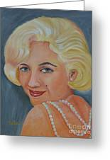 Marilyn Monroe With Pearls Greeting Card