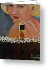 Marilyn With Chanel And Pearls Greeting Card
