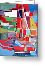 Marina Abstract  Acrylics Paintings Greeting Card by Therese AbouNader