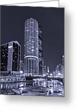 Marina City On The Chicago River In B And W Greeting Card