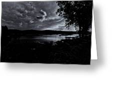 Marina Sunset Black And White Greeting Card